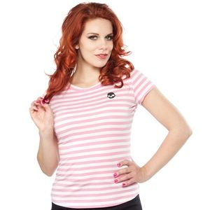 Sourpuss Pink & White Stripe Skull Crewneck Tee